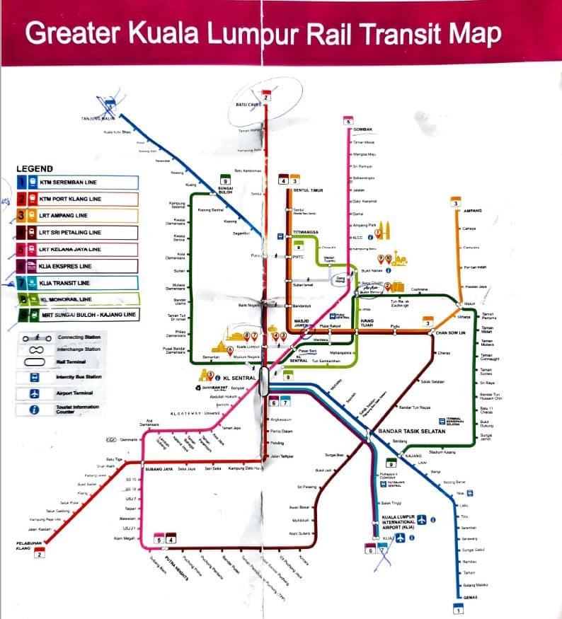 Mapa kolei w Kuala Lumpur